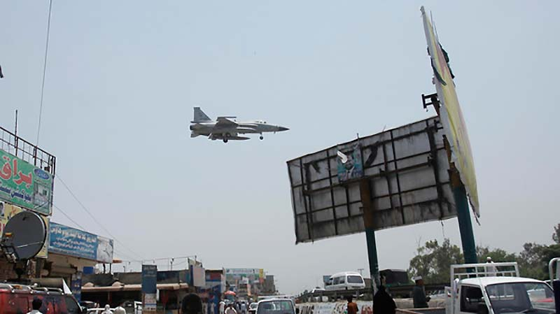 A Pakistan Air Force's aircraft prepares for landing at Bacha Khan airport in Peshaswar June 26, 2014.  (Photo by Reuters)