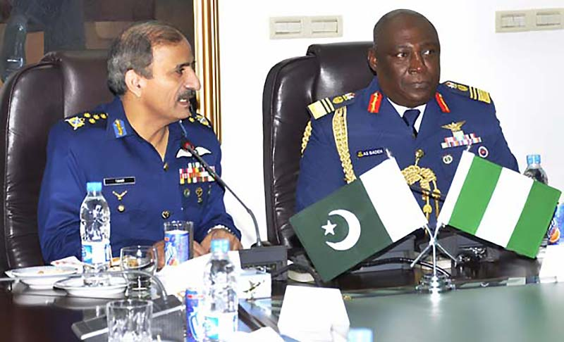 Air Marshal Alex Sabundu Badeh, chief of the air staff of the Nigerian Air Force who is currently visiting Pakistan on the invitation of Chief of the Air Staff Pakistan Air Force (PAF) Air Chief Marshal Tahir Rafique Butt, visited the Air Headquarters along with a delegation here on Monday. (Photo by maverickpakistanis.com)