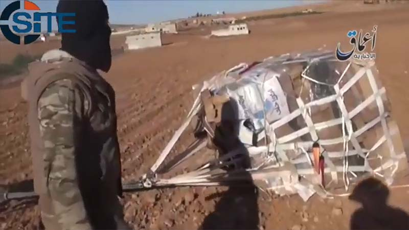 Video posted by the Islamic State on Oct. 21, 2014, purports to show fighters with ammunition and military equipment intended for Kurdish fighters near Kobane, Syria. (SITE Intelligence Group)