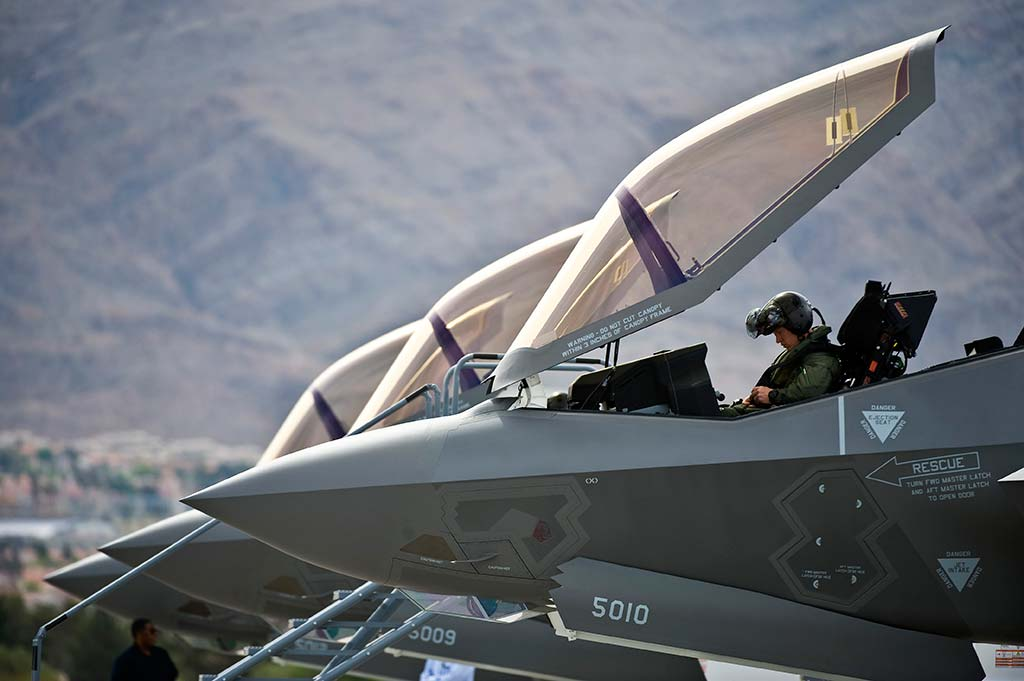 Nellis F-35A Lightning II takes first flight U.S. Air Force Capt. Brad Matherne, 422nd Test and Evaluation Squadron pilot, conducts pre-flight checks inside an F-35A Lightning II before a training mission April 4, 2013, at Nellis Air Force Base, Nev. The F-35A will be integrated into advanced training programs such as the USAF Weapons School, Red Flag and Green Flag exercises. (U.S. Air Force photo/Senior Airman Brett Clashman)