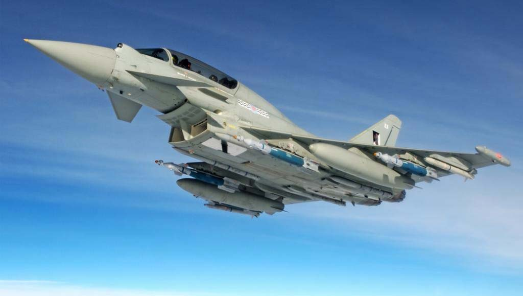 In recent trials, a RAF Typhoon successfully released two Paveway IV bombs at multiple targets. (Photo by BAE Systems)