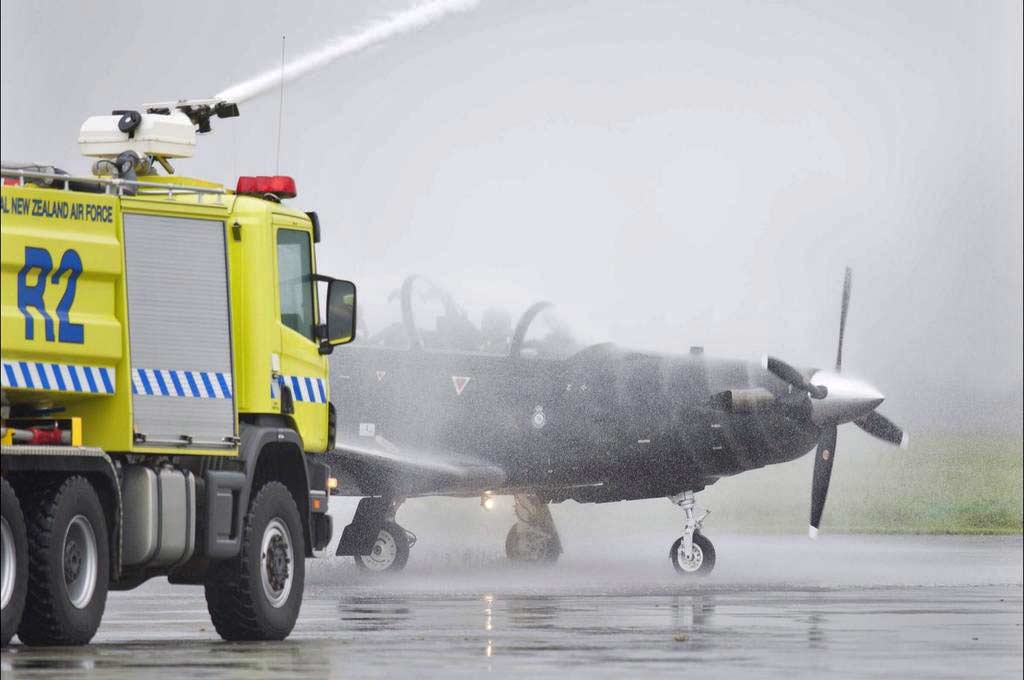 Prop wash fifth T-6C Texan II RNZAF traditional handover/welcome ceremony (Photo by Royal New Zealand Air Force)