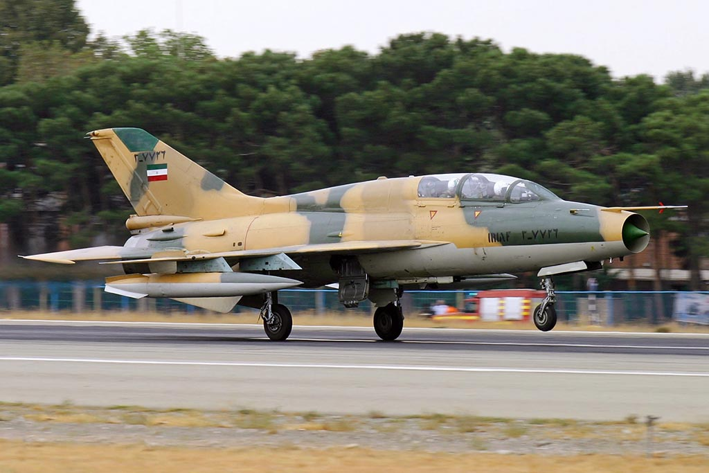 Islamic Republic of Iran Air Force Chengdu FT-7 Advanced Training jet landing at Mehrabad International Airport. 16 September 2009