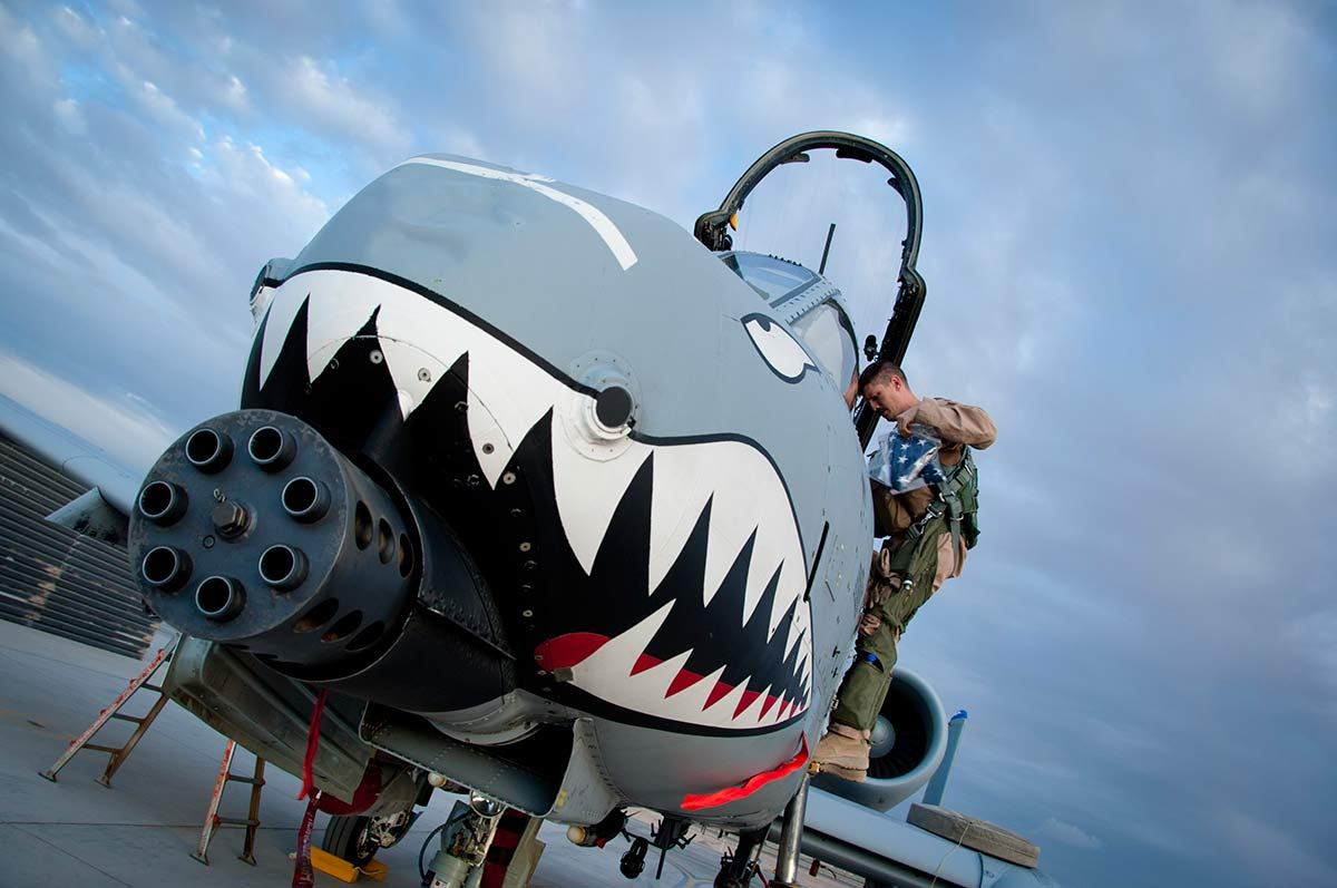 Capt. Richard Olson, 74th Expeditionary Fighter Squadron A-10 pilot, gets off an A-10 Warthog after his flight at Kandahar Airfield, Afghanistan, Sept. 2, 2011. (Photo by Senior Airman Corey Hook/ U.S. Air Force)