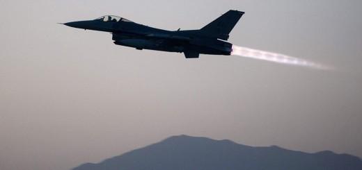 USAF F-16 555th EFS taking off Bagram AB, Afghanistan 6 Sept 2015