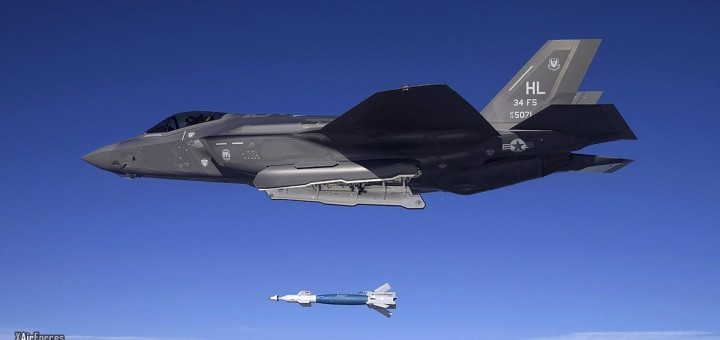 USAF F-35A of the 34th FS at Hill AFB dropped a GBU-12 laser-guided bomb February 2016