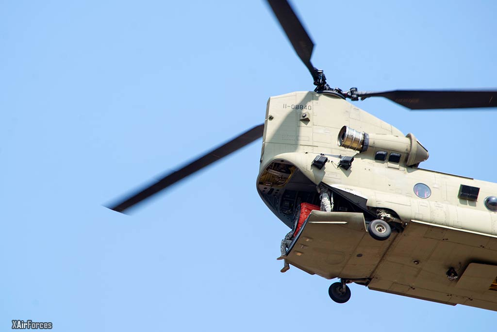 USArmy CH-47 Chinooks depart Soto Cano AB in support of firefighting supports Honduras