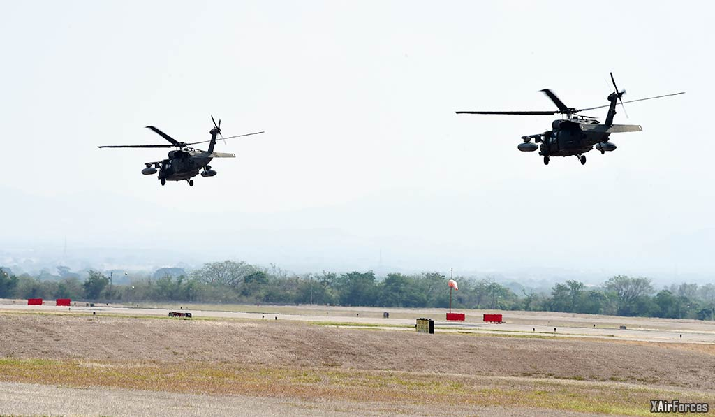 USArmy CH-47 Chinooks depart Soto Cano AB in support of firefighting