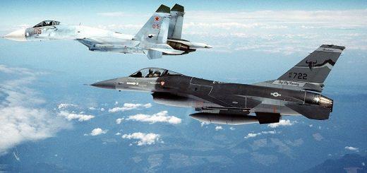 USAF F-16 fighters intercepting Russian Su-30