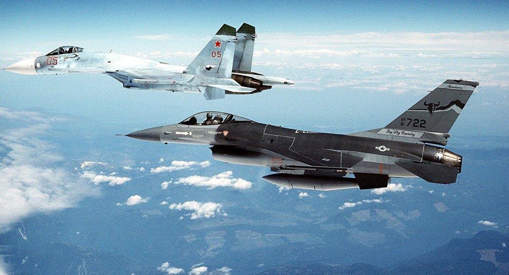 Su-27 and F-16