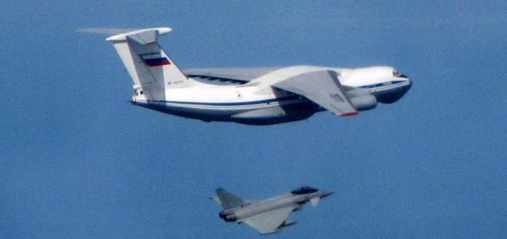Russian IL76 Candid being intercepted by an RAF Typhoon
