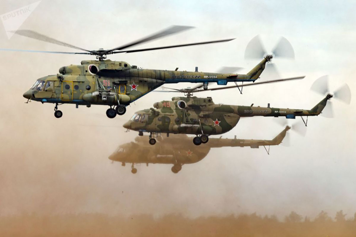Russian Army Aviation Mi-8 Armed Helicopters in Vostok 2018