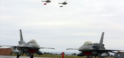 Turkish Air Force F-16s with Azerbaijan Air Force Mi-17s