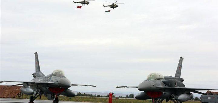 Turkish Air Force F-16s with Azerbaijan Air Force Mi-17s