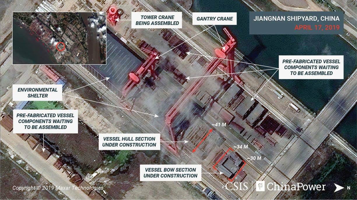 Chinese People's Liberation Army-Navy aircraft carrier (satellite-image)