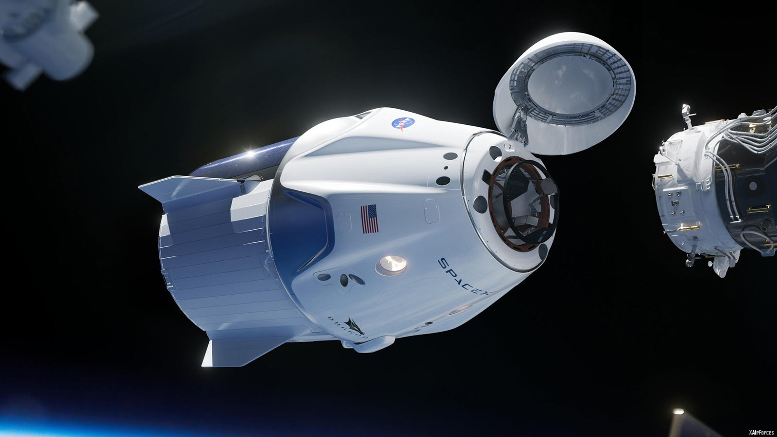 NASA International Space Station (ISS) with Dragon 2 spacecraft