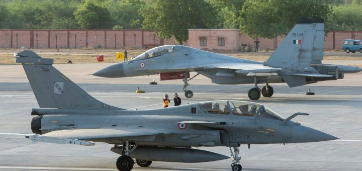 French Air Force Rafale B and Indian Air Force Su-30MKI