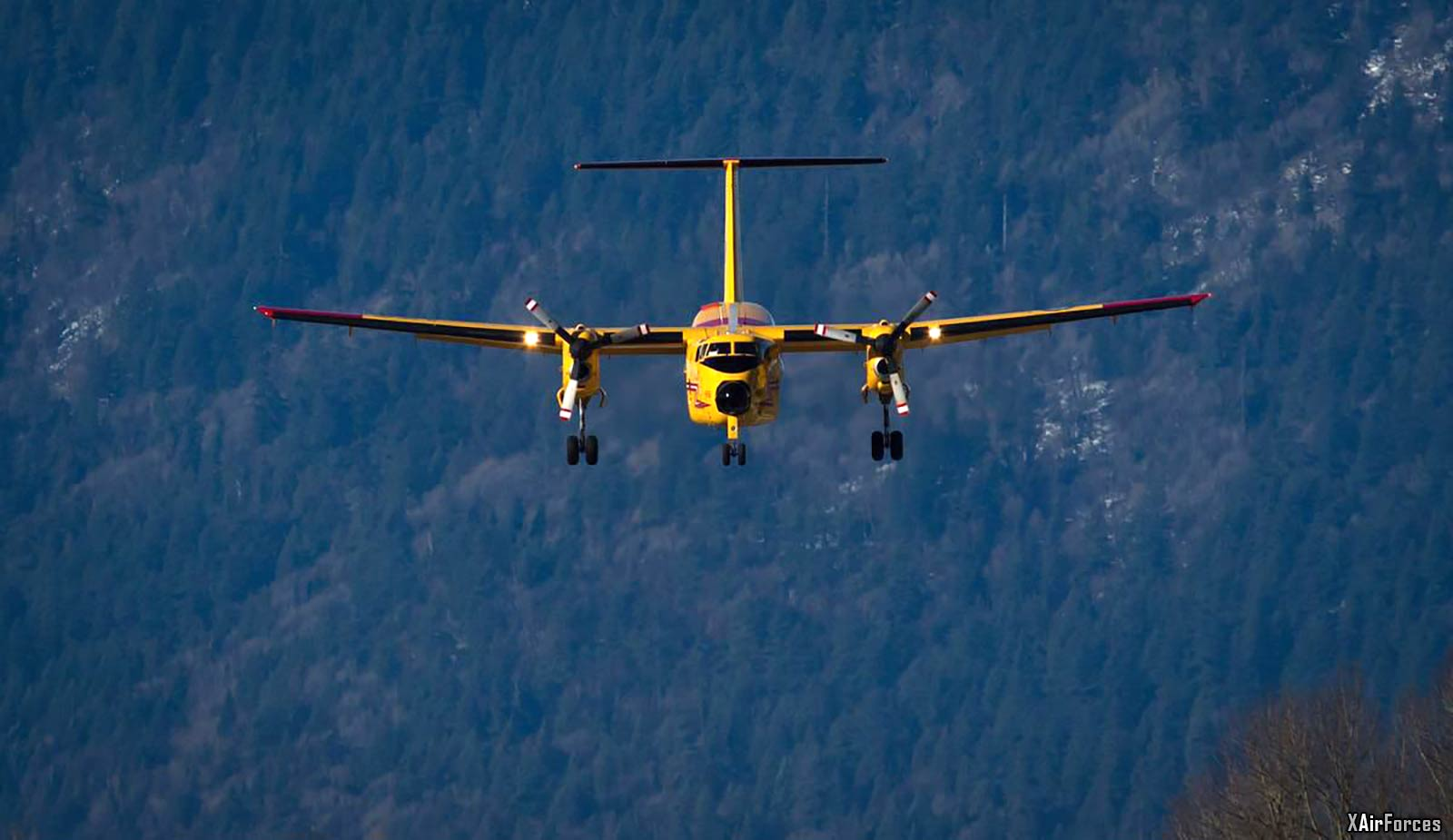 A Canadian Forces CC-115 Buffalo aircraft prepares to land at Chilliwack Airport