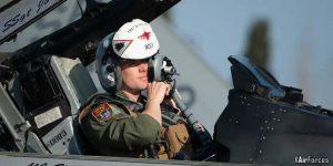 USAF Capt Wesley Reid prepares for a mission at Andravida AB in Greece