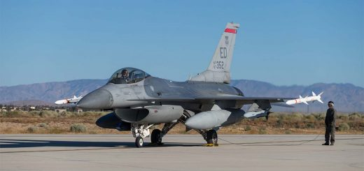 USAF F-16C (87-352) captive-carry Gray Wolf cruise at Edwards AFB, 9 Jun 2020
